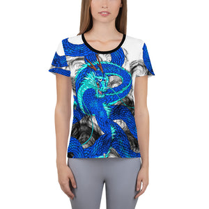 Blue Imperial Dragon Women's Athletic T-shirt
