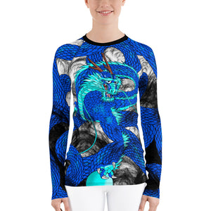 Blue Imperial Dragon Women's Long Sleeve Rash Guard