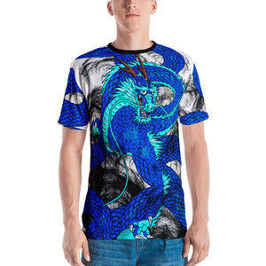 Blue Imperial Dragon Men's Crew Neck T-Shirt
