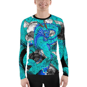 Teal Imperial Dragon Men's Long Sleeve Rash Guard