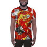 Red Imperial Dragon Men's Athletic T-shirt