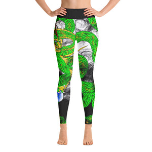 Lime Green Imperial Dragon Yoga Leggings