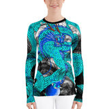 Teal Imperial Dragon Women's Long Sleeve Rash Guard