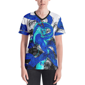 Blue Imperial Dragon Women's V-neck T-Shirt