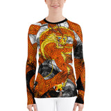 Orange Imperial Dragon Women's Long Sleeve Rash Guard