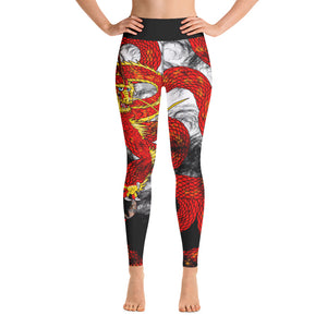 Red Imperial Dragon Yoga Leggings