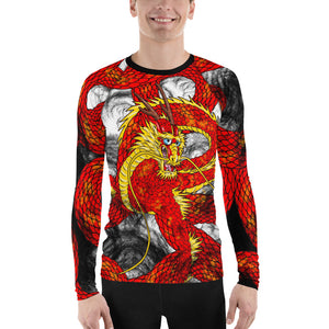 Red Imperial Dragon Print Men's Long Sleeve Rash Guard