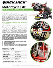 QuickJack Motorcycle lift specification sheet