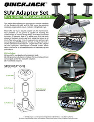 SUV Adapter Set Specification Sheet