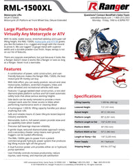 RML-1500 Motorcycle Lift Spec Sheet - My Auto Garage