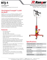 Ranger RTJ-1 Specification Sheet