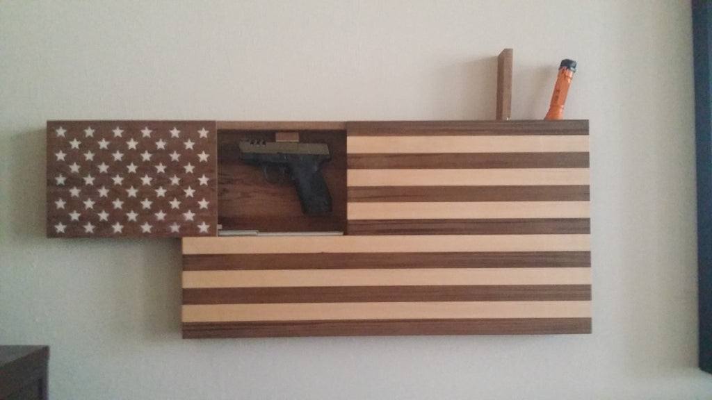 Hardwood Pistol Concealment US Flag Wall Art - No Tactical Light Included