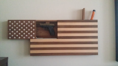 Hardwood Pistol Concealment US Flag Wall Art w/ SOG Tactical 120A Light
