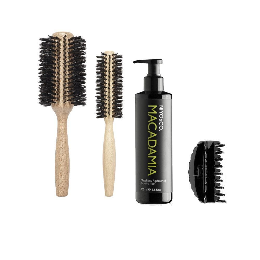 KIT HOME SPA - BRUSHING MACADAMIA + POCHETTE GRIGIA