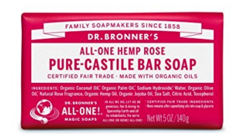 Dr Bronner Rose Magic Bar Soap 140g