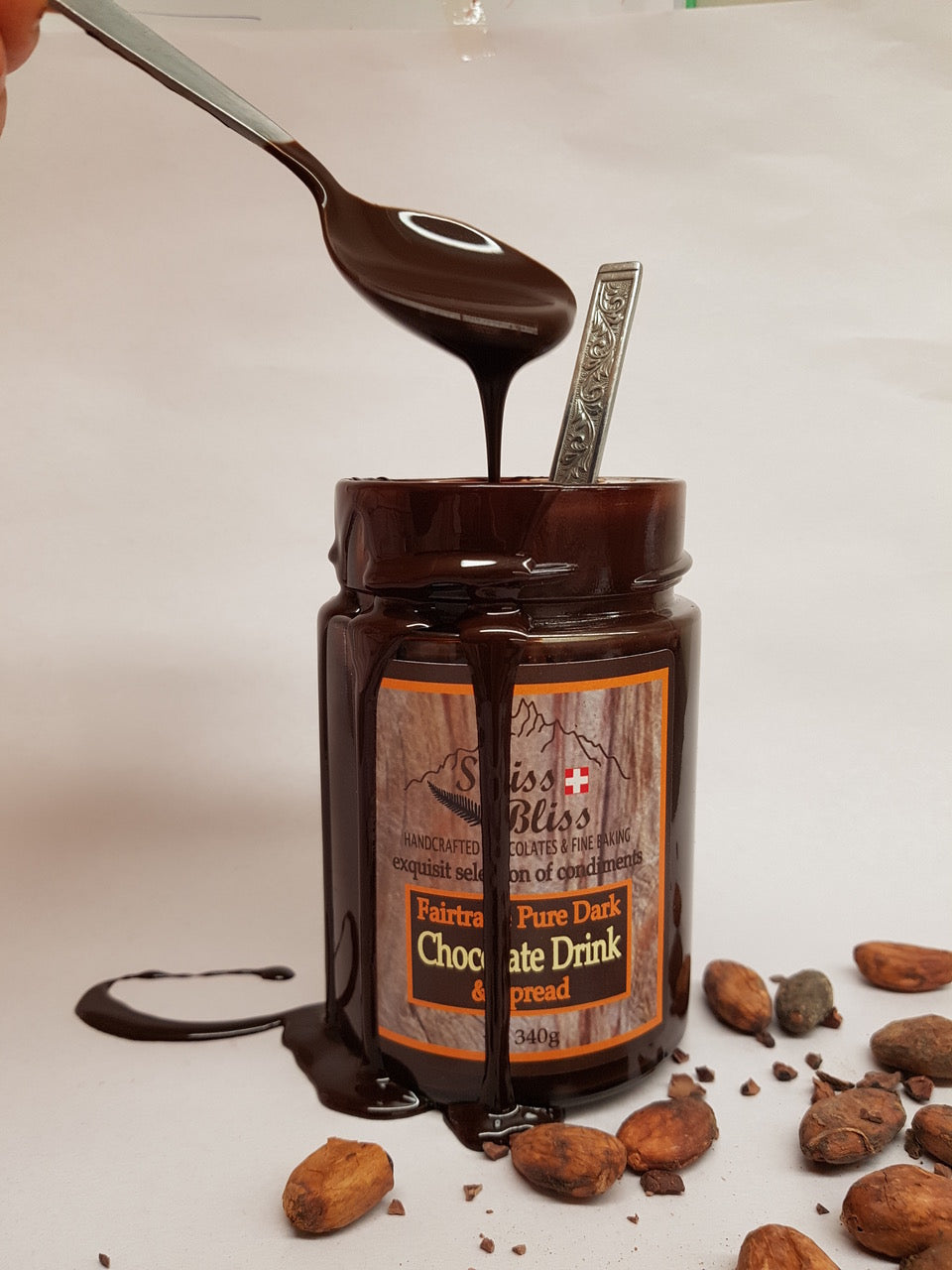"Fairtrade ""Pure Dark"" Chocolate Drink + Spread made with real chocolate"