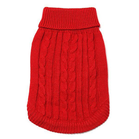 Cable Dog Jumper Winter Warm - Red Medium