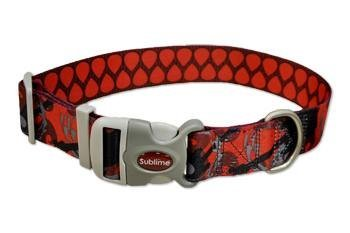 Reversible Multi Ultra Cool Patterned Dog Collar - Guitar Red