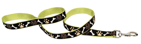 Pet Attire Black Ribbon Lead Paws/Bone Design
