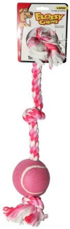 Pink Flossy Chew Dog Tug Toy - 3 Knot with 1 Ball