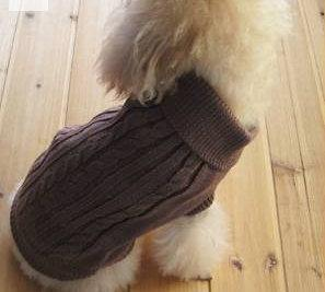 Cable Dog Jumper Winter Warm - Coffee