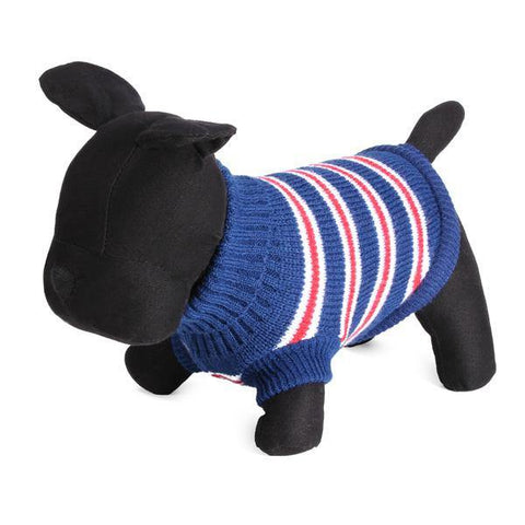 Blue Striped Dog Jumper