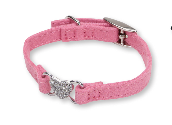Li'l Pals Suede Heart Pink Jewel Collar