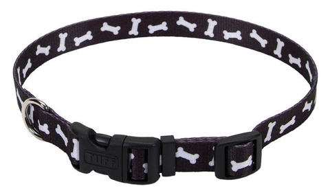 Pet Attire Black Bones Dog Collars