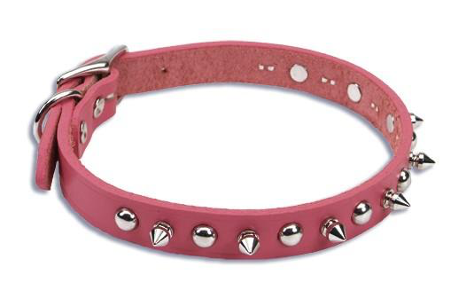Pink Leather Spiked Dog Collar Pink