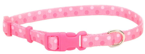 Pet Attire Pink Polka Dot Dog Collars