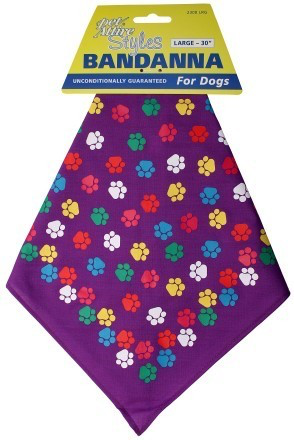 Pet Attire Purple Paws Bandana