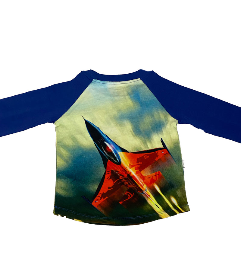 blue airplane raglan t shirt 3/4 sleeve