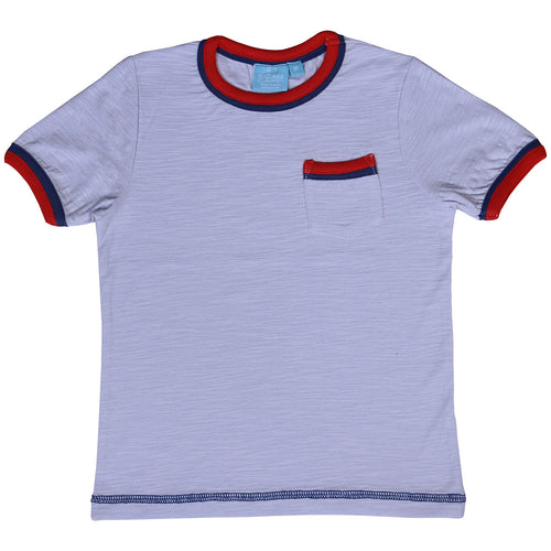 Misty Blue Tee With Red BearCamp Kids clothing brand kidsbal boys clothing boutique boys fashion