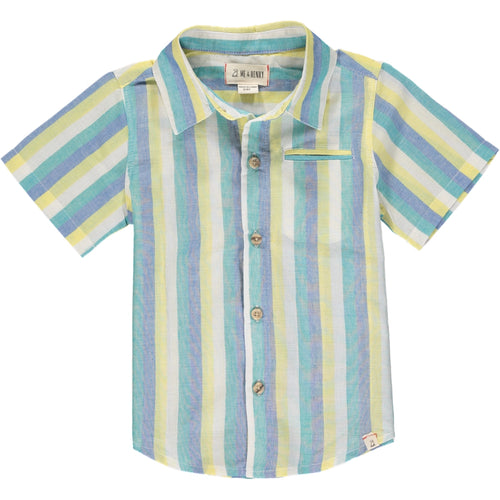 Boys Clothing Yellow & Blue-Green Stripe Button Up  Me & Henry kids branded clothes Kidsbal boys boutique clothing boys fashion