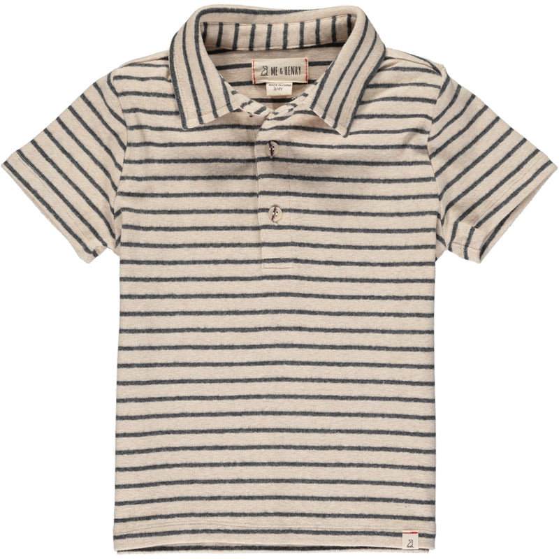 Polo Shirt Kids Boys Clothes, Beige and Gray Stripe Polo Me & Henry kids branded clothes Kidsbal boys boutique clothing boys fashion
