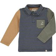 Navy Multi Stripe Polo Long Sleeve Me & Henry Kids Clothing Brand Kidsbal Boys Clothing Boutique