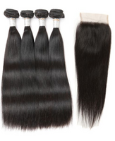 Nature丨4 Bundles Straight Hair With 4X4 Lace Closure丨Natural Black