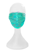 Adult Premium Mask in Reversible Aqua & White Sequins