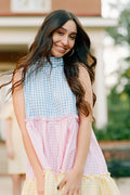 Aly Bow Dress in Gingham Combo