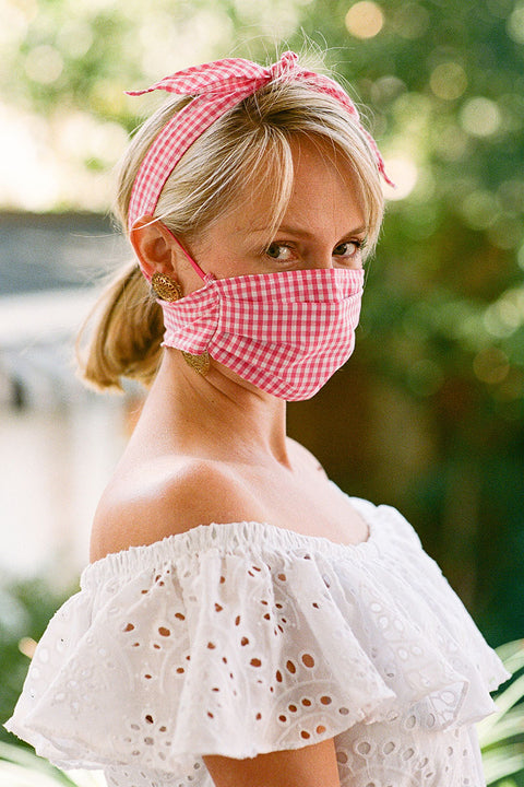 Adult Gingham Bow Mask