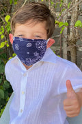Youth Premium Mask in Navy Bandana