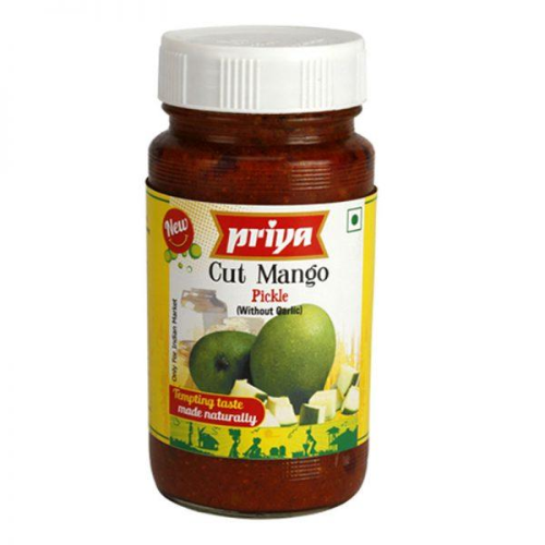 Priya Cut Mango Pickle without Garlic (300g) - Dookan