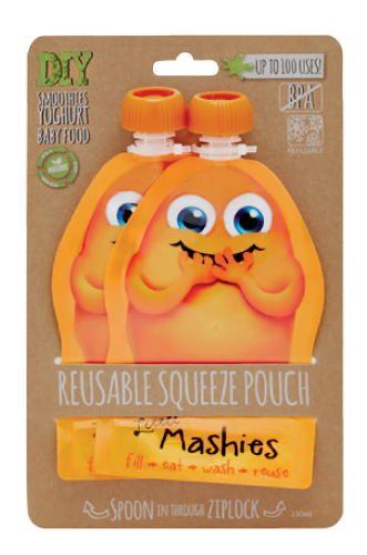 Little Mashies Reusable Food Pouches 2pk (Orange)