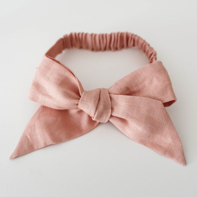 Rust | Linen Bow Pre-Tied Headband Wrap