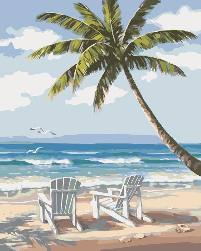 Chair on beach and palm paint by numbers canvas for adults from paint pots