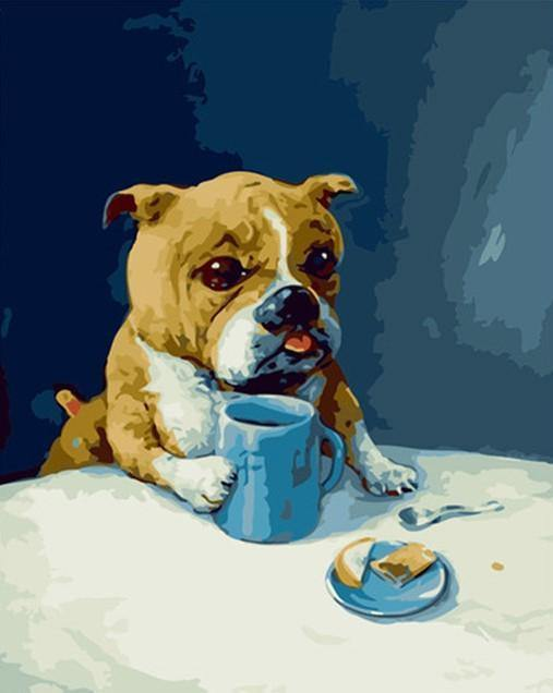 Dog Bulldog with coffee paint by numbers canvas for adults from paint pots