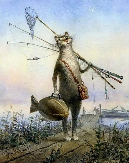 A Modern Cat on Fishing Point paint by numbers canvas for adults from paint pots