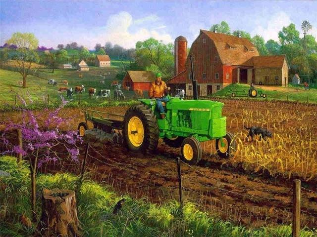 A Farmer Tractor - Paint by numbers canvas for adults from paint pots