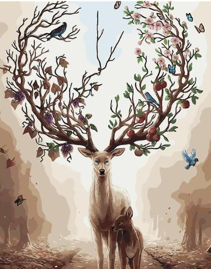 Abstract Deer Tree paint by numbers canvas for adults from paint pots