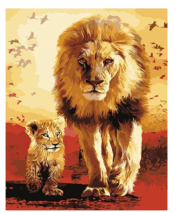 Animal King With His Son - Paint by numbers canvas for adults from paint pots